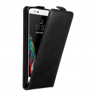 Cadorabo Hülle für LG K10 2016 in NACHT SCHWARZ Handyhülle im Flip Design mit unsichtbarem Magnetverschluss Case Cover Schutzhülle Etui Tasche Book Klapp Style