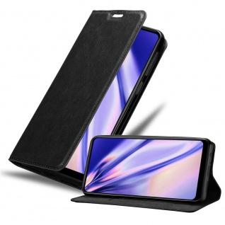 Cadorabo Hülle für Samsung Galaxy A21 in NACHT SCHWARZ Handyhülle mit Magnetverschluss, Standfunktion und Kartenfach Case Cover Schutzhülle Etui Tasche Book Klapp Style