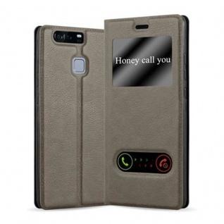 Cadorabo Hülle für Huawei P9 in STEIN BRAUN Handyhülle mit Magnetverschluss, Standfunktion und 2 Sichtfenstern Case Cover Schutzhülle Etui Tasche Book Klapp Style