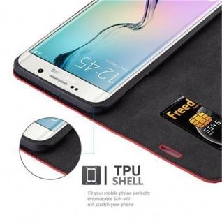 Cadorabo Hülle für Samsung Galaxy S6 EDGE PLUS in APFEL ROT - Handyhülle mit Magnetverschluss, Standfunktion und Kartenfach - Case Cover Schutzhülle Etui Tasche Book Klapp Style - Vorschau 3