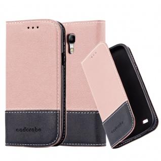 Cadorabo Hülle für Samsung Galaxy S4 MINI in GOLD SCHWARZ ? Handyhülle mit Magnetverschluss, Standfunktion und Kartenfach ? Case Cover Schutzhülle Etui Tasche Book Klapp Style