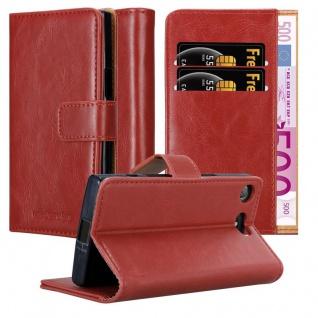 Cadorabo Hülle für Sony Xperia XZ1 Compact in WEIN ROT ? Handyhülle mit Magnetverschluss, Standfunktion und Kartenfach ? Case Cover Schutzhülle Etui Tasche Book Klapp Style