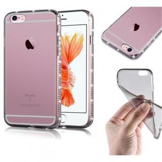 Cadorabo Hülle für Apple iPhone 6 / iPhone 6S - Hülle in TRANSPARENT SCHWARZ ? Handyhülle aus TPU Silikon im Strass Design - Ultra Slim Soft Backcover Case Bumper