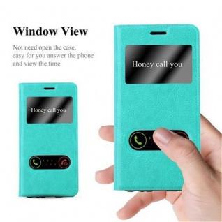 Cadorabo Hülle für Huawei P10 in MINT TÜRKIS - Handyhülle mit Magnetverschluss, Standfunktion und 2 Sichtfenstern - Case Cover Schutzhülle Etui Tasche Book Klapp Style - Vorschau 2