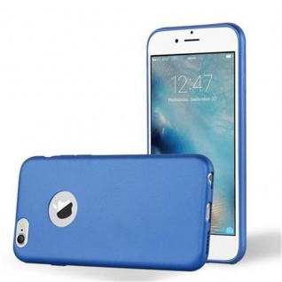 Cadorabo Hülle für Apple iPhone 6 PLUS / iPhone 6S PLUS - Hülle in METALLIC BLAU ? Handyhülle aus TPU Silikon im Matt Metallic Design - Ultra Slim Soft Backcover Case Bumper
