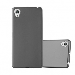 Cadorabo Hülle für Sony Xperia X in METALLIC GRAU - Handyhülle aus flexiblem TPU Silikon - Silikonhülle Schutzhülle Ultra Slim Soft Back Cover Case Bumper