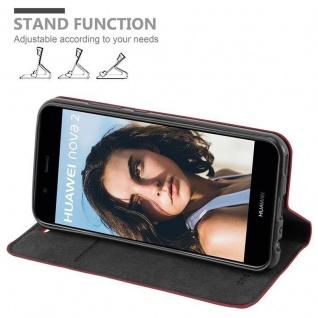 Cadorabo Hülle für Huawei NOVA 2 in APFEL ROT - Handyhülle mit Magnetverschluss, Standfunktion und Kartenfach - Case Cover Schutzhülle Etui Tasche Book Klapp Style - Vorschau 3