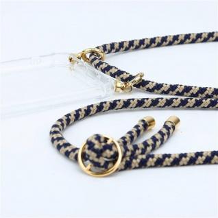 Cadorabo Handy Kette für Honor 20e in DUNKELBLAU GELB Silikon Necklace Umhänge Hülle mit Gold Ringen, Kordel Band Schnur und abnehmbarem Etui Schutzhülle - Vorschau 2