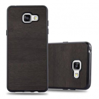 Cadorabo Hülle für Samsung Galaxy A3 2016 in WOODEN SCHWARZ ? Handyhülle aus flexiblem TPU Silikon ? Silikonhülle Schutzhülle Ultra Slim Soft Back Cover Case Bumper