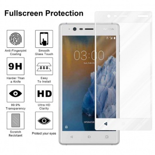 Cadorabo Vollbild Panzer Folie für Nokia 3 2017 - Schutzfolie in TRANSPARENT mit WEISS - Gehärtetes (Tempered) Display-Schutzglas in 9H Härte mit 3D Touch Kompatibilität - Vorschau 4