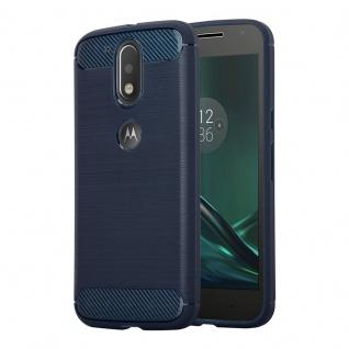 Cadorabo Hülle für Motorola MOTO G4 / MOTO G4 PLUS - Hülle in BRUSHED BLAU - Handyhülle aus TPU Silikon in Edelstahl-Karbonfaser Optik - Silikonhülle Schutzhülle Ultra Slim Soft Back Cover Case Bumper