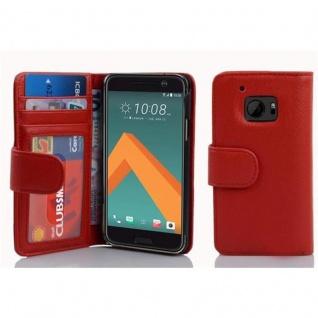 Cadorabo Hülle für HTC 10 (One M10) in INFERNO ROT ? Handyhülle mit Magnetverschluss und 3 Kartenfächern ? Case Cover Schutzhülle Etui Tasche Book Klapp Style - Vorschau 4