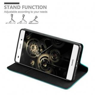 Cadorabo Hülle für Huawei P8 LITE 2015 in PETROL TÜRKIS - Handyhülle mit Magnetverschluss, Standfunktion und Kartenfach - Case Cover Schutzhülle Etui Tasche Book Klapp Style - Vorschau 4