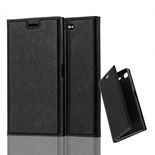 Cadorabo Hülle für Sony Xperia XZ1 in NACHT SCHWARZ Handyhülle mit Magnetverschluss, Standfunktion und Kartenfach Case Cover Schutzhülle Etui Tasche Book Klapp Style