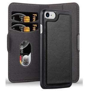 Cadorabo Hülle für Apple iPhone 7 / 7S / 8 / SE 2020 Hülle in KOHLEN SCHWARZ Handyhülle im 2-in-1 Design mit Standfunktion und Kartenfach Hard Case Book Etui Schutzhülle Tasche Cover