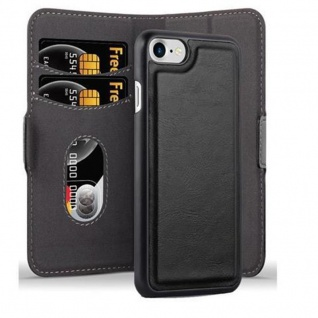 Cadorabo Hülle für Apple iPhone 7 / iPhone 7S / iPhone 8 - Hülle in KOHLEN SCHWARZ - Handyhülle im 2-in-1 Design mit Standfunktion und Kartenfach - Hard Case Book Etui Schutzhülle Tasche Cover