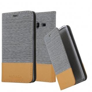 Cadorabo Hülle für Samsung Galaxy J1 MINI 2016 in HELL GRAU BRAUN - Handyhülle mit Magnetverschluss, Standfunktion und Kartenfach - Case Cover Schutzhülle Etui Tasche Book Klapp Style