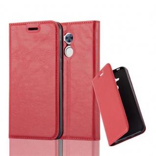 Cadorabo Hülle für Honor 6A in APFEL ROT - Handyhülle mit Magnetverschluss, Standfunktion und Kartenfach - Case Cover Schutzhülle Etui Tasche Book Klapp Style
