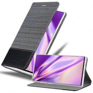 Cadorabo Hülle für Samsung Galaxy NOTE 10 PLUS in GRAU SCHWARZ Handyhülle mit Magnetverschluss, Standfunktion und Kartenfach Case Cover Schutzhülle Etui Tasche Book Klapp Style