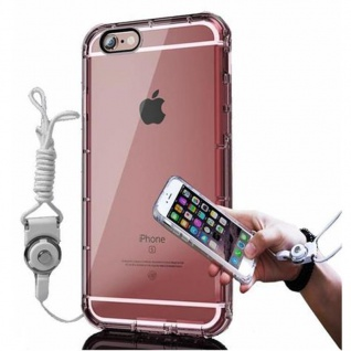Cadorabo Hülle für Apple iPhone 6 / iPhone 6S - Hülle in TRANSPARENT ROSÉ ? Handyhülle aus flexiblem TPU Silikon mit Schlaufe - Ultra Slim Soft Backcover Case Bumper
