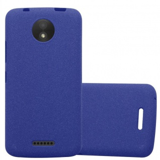 Cadorabo Hülle für Motorola MOTO C in FROST DUNKEL BLAU - Handyhülle aus flexiblem TPU Silikon - Silikonhülle Schutzhülle Ultra Slim Soft Back Cover Case Bumper