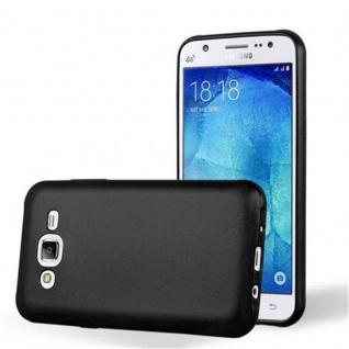 Cadorabo Hülle für Samsung Galaxy J5 2015 in METALLIC SCHWARZ - Handyhülle aus flexiblem TPU Silikon - Silikonhülle Schutzhülle Ultra Slim Soft Back Cover Case Bumper