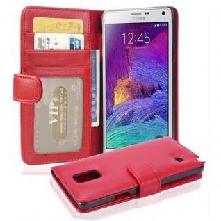 Cadorabo Hülle für Samsung Galaxy NOTE 4 in INFERNO ROT Handyhülle mit Magnetverschluss und 3 Kartenfächern Case Cover Schutzhülle Etui Tasche Book Klapp Style