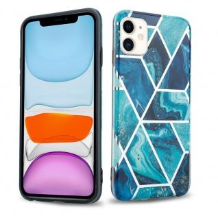 Cadorabo Hülle für Apple iPhone 11 (XI) Hülle in Blaue Welle Marmor No.13 Handyhülle aus TPU Silikon mit Muster Mosaik Silikonhülle Schutzhülle Ultra Slim Back Cover Case Bumper
