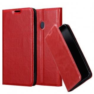 Cadorabo Hülle für Samsung Galaxy M20 in APFEL ROT - Handyhülle mit Magnetverschluss, Standfunktion und Kartenfach - Case Cover Schutzhülle Etui Tasche Book Klapp Style