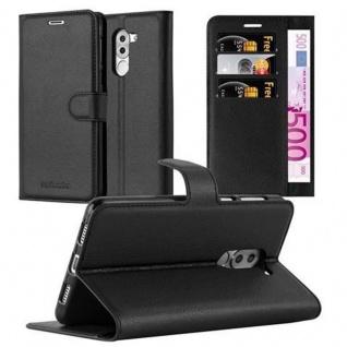 Cadorabo Hülle für Honor 6X in PHANTOM SCHWARZ - Handyhülle mit Magnetverschluss, Standfunktion und Kartenfach - Case Cover Schutzhülle Etui Tasche Book Klapp Style