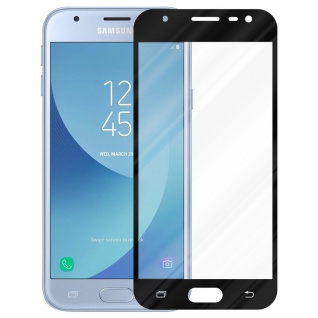 Cadorabo Vollbild Panzer Folie für Samsung Galaxy J3 PRO - Schutzfolie in TRANSPARENT mit SCHWARZ - Gehärtetes (Tempered) Display-Schutzglas in 9H Härte mit 3D Touch Kompatibilität - Vorschau 2