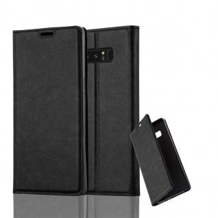 Cadorabo Hülle für Samsung Galaxy NOTE 8 in NACHT SCHWARZ Handyhülle mit Magnetverschluss, Standfunktion und Kartenfach Case Cover Schutzhülle Etui Tasche Book Klapp Style