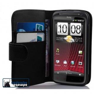 Cadorabo Hülle für HTC SENSATION XE in KAVIAR SCHWARZ - Handyhülle aus glattem Kunstleder mit Standfunktion und Kartenfach - Case Cover Schutzhülle Etui Tasche Book Klapp Style