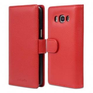 Cadorabo Hülle für Samsung Galaxy J5 2016 in INFERNO ROT - Handyhülle mit Magnetverschluss und 3 Kartenfächern - Case Cover Schutzhülle Etui Tasche Book Klapp Style