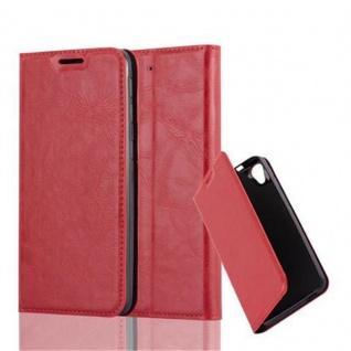 Cadorabo Hülle für HTC DESIRE 626G in APFEL ROT - Handyhülle mit Magnetverschluss, Standfunktion und Kartenfach - Case Cover Schutzhülle Etui Tasche Book Klapp Style