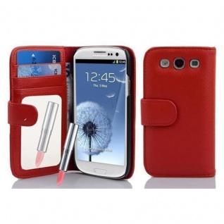 Cadorabo Hülle für Samsung Galaxy S3 / S3 NEO - Hülle in CAYENNE ROT ? Handyhülle mit Spiegel und Kartenfach - Case Cover Schutzhülle Etui Tasche Book Klapp Style