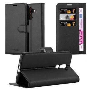 Cadorabo Hülle für Nokia 7 PLUS in PHANTOM SCHWARZ - Handyhülle mit Magnetverschluss, Standfunktion und Kartenfach - Case Cover Schutzhülle Etui Tasche Book Klapp Style