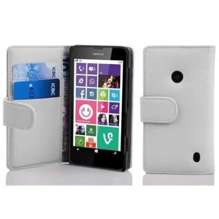 Cadorabo Hülle für Nokia Lumia 630 / 635 in MAGNESIUM WEIß ? Handyhülle aus strukturiertem Kunstleder mit Standfunktion und Kartenfach ? Case Cover Schutzhülle Etui Tasche Book Klapp Style