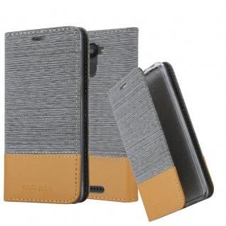 Cadorabo Hülle für BQ Aquaris U Plus in HELL GRAU BRAUN - Handyhülle mit Magnetverschluss, Standfunktion und Kartenfach - Case Cover Schutzhülle Etui Tasche Book Klapp Style