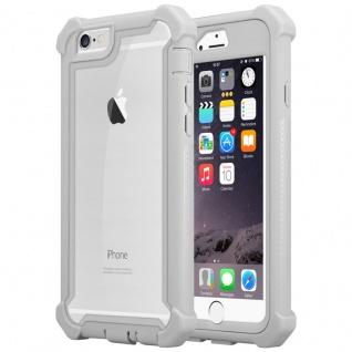 Cadorabo Hülle für Apple iPhone 6 PLUS / iPhone 6S PLUS in BIRKEN GRAU - 2-in-1 Handyhülle mit TPU Silikon-Rand und Acryl-Glas-Rücken - Schutzhülle Hybrid Hardcase Back Case