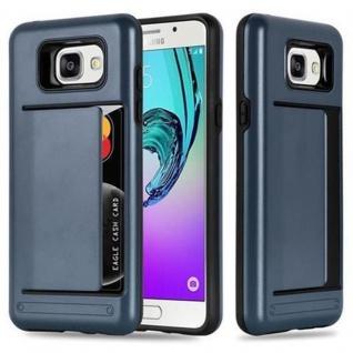 Cadorabo Hülle für Samsung Galaxy A3 2016 - Hülle in ARMOR DUNKEL BLAU ? Handyhülle mit Kartenfach - Hard Case TPU Silikon Schutzhülle für Hybrid Cover im Outdoor Heavy Duty Design
