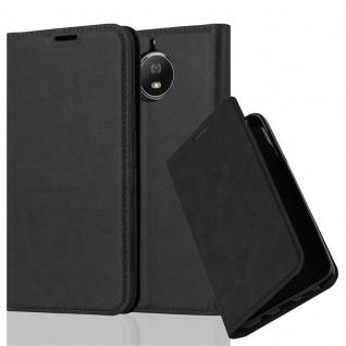 Cadorabo Hülle für Motorola MOTO G5S in NACHT SCHWARZ - Handyhülle mit Magnetverschluss, Standfunktion und Kartenfach - Case Cover Schutzhülle Etui Tasche Book Klapp Style