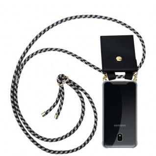Cadorabo Handy Kette für Samsung Galaxy J3 2018 in DUNKELBLAU GELB - Silikon Necklace Umhänge Hülle mit Gold Ringen, Kordel Band Schnur und abnehmbarem Etui ? Schutzhülle