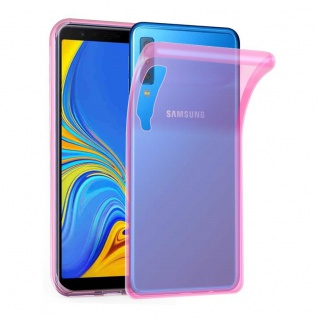 Cadorabo Hülle für Samsung Galaxy A7 2018 in TRANSPARENT PINK - Handyhülle aus flexiblem TPU Silikon - Silikonhülle Schutzhülle Ultra Slim Soft Back Cover Case Bumper