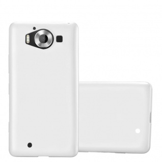 Cadorabo Hülle für Nokia Lumia 950 in METALLIC SILBER - Handyhülle aus flexiblem TPU Silikon - Silikonhülle Schutzhülle Ultra Slim Soft Back Cover Case Bumper