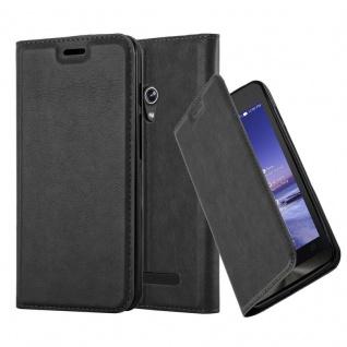 Cadorabo Hülle für Asus ZenFone 5 2014 in NACHT SCHWARZ - Handyhülle mit Magnetverschluss, Standfunktion und Kartenfach - Case Cover Schutzhülle Etui Tasche Book Klapp Style