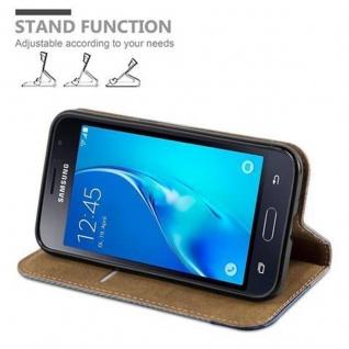 Cadorabo Hülle für Samsung Galaxy J1 2016 (6) - Hülle in GRAU BLAU - Handyhülle in Bast-Optik mit Kartenfach und Standfunktion - Case Cover Schutzhülle Etui Tasche Book Klapp Style - Vorschau 4