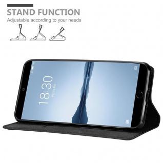 Cadorabo Hülle für MEIZU 15 in NACHT SCHWARZ - Handyhülle mit Magnetverschluss, Standfunktion und Kartenfach - Case Cover Schutzhülle Etui Tasche Book Klapp Style - Vorschau 4