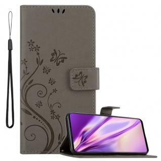 Cadorabo Hülle für Samsung Galaxy A71 in FLORAL GRAU Handyhülle im Blumen Design mit Magnetverschluss, Standfunktion und 3 Kartenfächern Case Cover Schutzhülle Etui Tasche Book Klapp Style