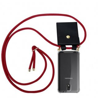 Cadorabo Handy Kette für Samsung Galaxy NOTE 3 in RUBIN ROT - Silikon Necklace Umhänge Hülle mit Gold Ringen, Kordel Band Schnur und abnehmbarem Etui ? Schutzhülle
